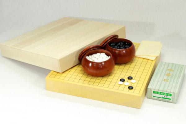本榧碁盤20号卓上 碁石・碁笥セット