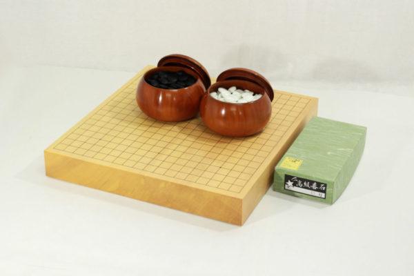 新榧碁盤20号卓上 碁石・碁笥セット