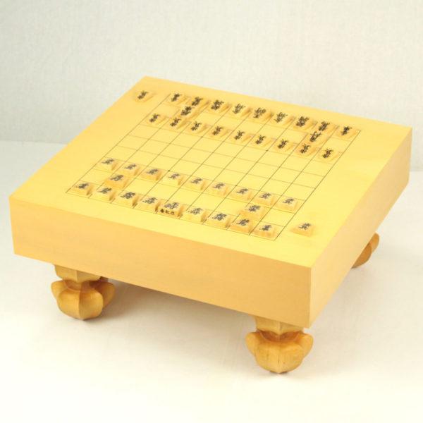 本榧将棋盤 3.4寸 柾目足付(駒置き有)