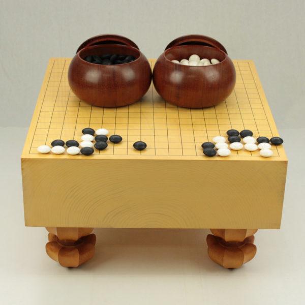 (中古)本榧碁盤 4寸木表+碁笥 本花梨特大+本蛤碁石 31号