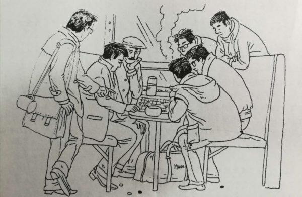 列車の中で偶然出会った囲碁ファンとの対局